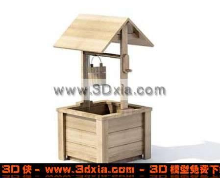 简单的木质水井3D模型