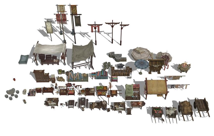 古代商业街小品组合SU模型