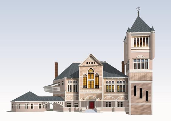 欧式图书馆SU模型