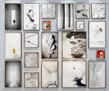 现代装饰画组合 现代挂画相框 照片墙