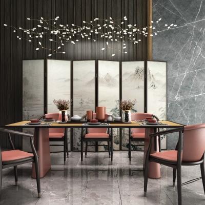 新中式餐桌椅吊灯屏风组合3D模型