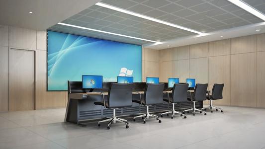 现代监控室 现代办公室 监控室 电脑桌 电脑椅 电脑 投影仪 幕布