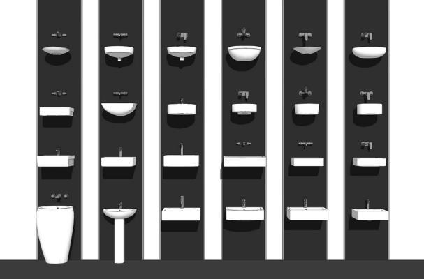 洗手池台盆组合SU模型