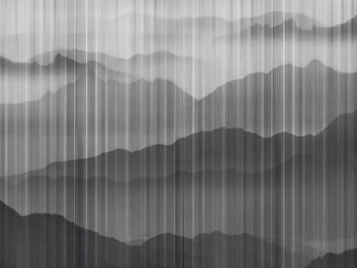 中式壁纸 山水贴图 自然风景 外景贴图 山水挂画 壁画 夹丝玻璃7