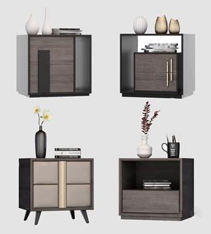 现代床头柜组合 现代床头柜 摆件