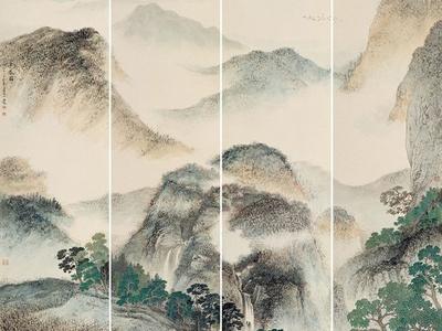 中式工笔 山水 背景 壁画