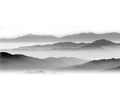 现代简约灰白山水画