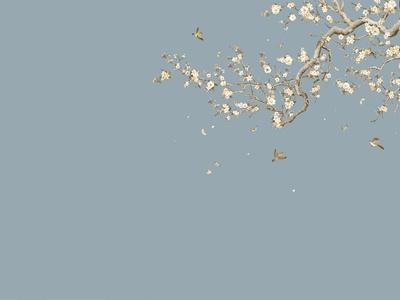 淡蓝色 新中式壁纸 花鸟壁纸 中式壁纸 中式山水花鸟壁纸