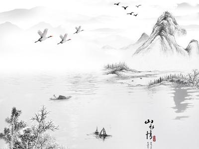 新中式水墨山水壁画