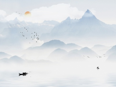 新中式壁画贴图
