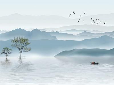 新中式山水壁画