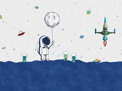 儿童壁纸壁画宇航员