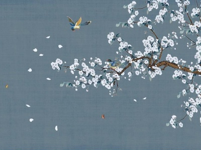 新中式高清花鸟真丝手绘壁纸 墙布