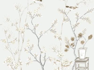 花鸟图 中式客厅 床头硬包刺绣