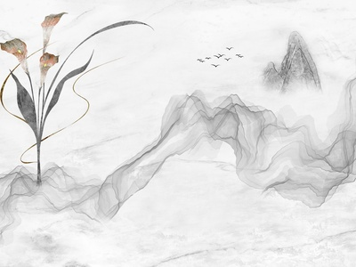 新中式花鸟壁画