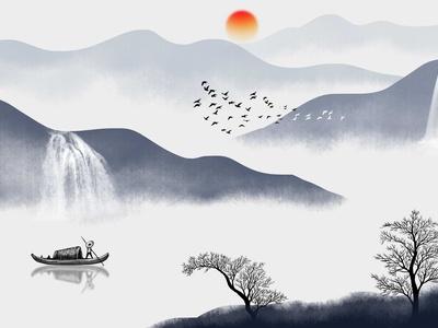 山水水墨畫 新中式掛畫