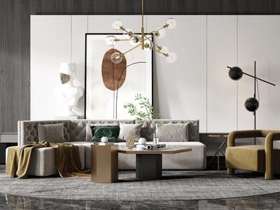 現代沙發茶幾組合 椅子 單人沙發 茶幾 吊燈 凳子 背景墻