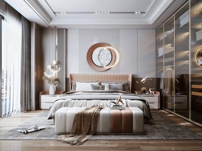 現代輕奢臥室 雙人床 床頭柜