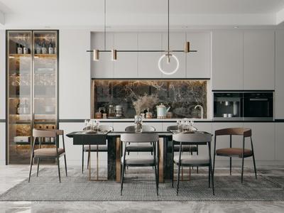 现代轻奢餐桌椅 吊灯 橱柜 餐桌 椅子 餐具 酒柜