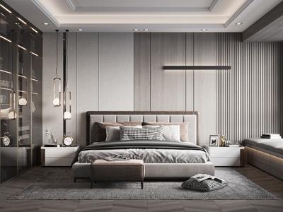 现代卧室 床衣柜 床头柜 台灯