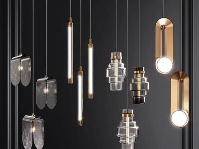 现代吊灯组合 金属吊灯 玻璃吊灯 床头吊灯