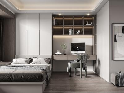 现代榻榻米卧室 双人床 床头柜 衣柜 椅子 凳子