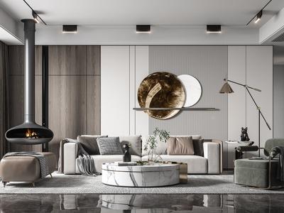 現代客廳 多人沙發 單人沙發 茶幾 裝飾擺件 雕塑 吊燈