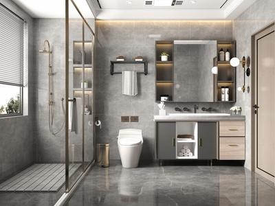現代輕奢衛生間 衛浴柜 洗手臺 淋浴柜 衛浴組合