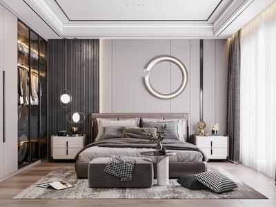 现代卧室 双人床 衣柜 墙饰 床尾凳 床头柜 地毯 地板 窗帘 装饰摆件