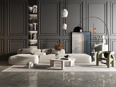 现代沙发茶几组合 L型沙发