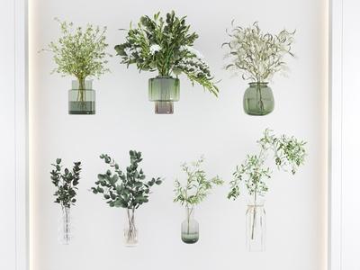 现代玻璃花瓶 水生植物