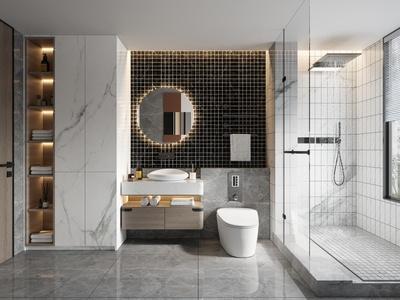 现代卫生间 浴室 浴室用品 洗手台 洗脸盆 洗手池 马桶 花洒