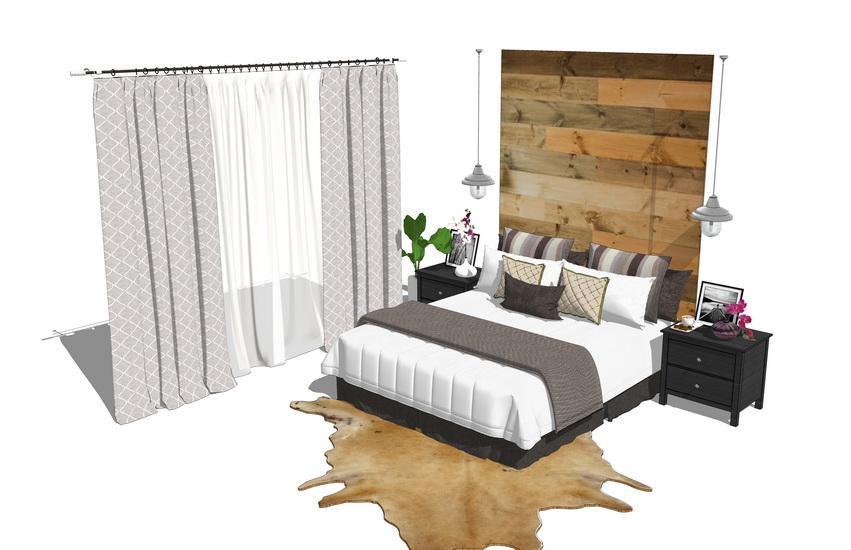 卧室家具组合SU模型