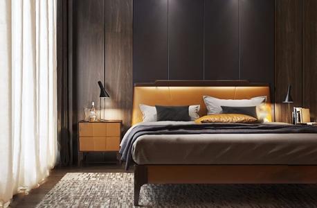 现代极简意式床具 现代双人床 床头柜 台灯 床品 床具