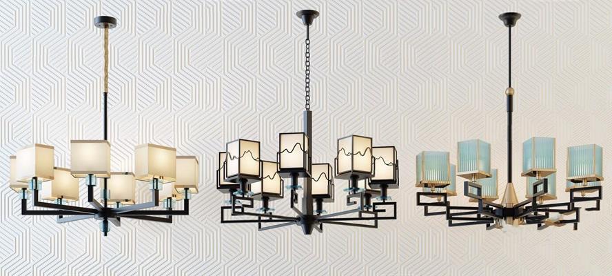 新中式簡約時尚吊燈組合 新中式吊燈 多頭吊燈 鐵藝吊燈 吊燈組合