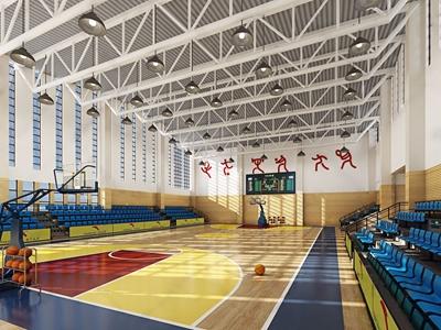 学校篮球馆 现代学校 篮球架 座位 吊灯 篮球