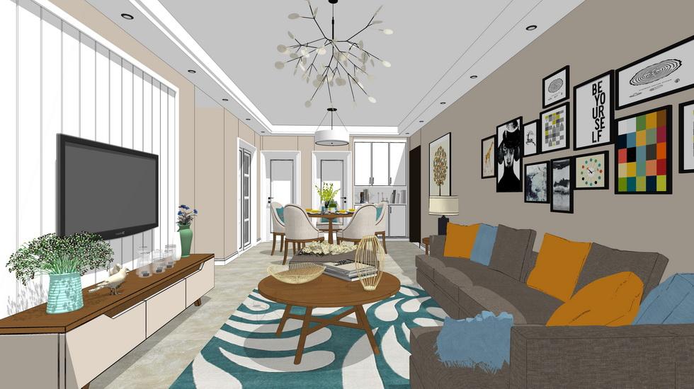 北欧风格客餐厅室内设计SU模型