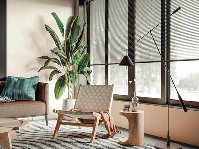 现代沙发茶几组合 单人沙发 角几 落地灯 植物
