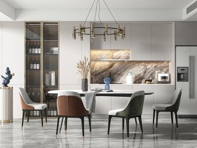 現代餐廳 餐桌椅組合 廚房 櫥柜 吊燈 吧臺 單椅 冰箱 酒柜 廚具用品