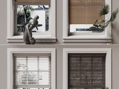 现代百叶帘 窗户 kaws摆件 盆栽
