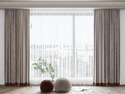 现代窗帘 植物 圆凳