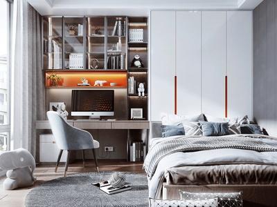 现代榻榻米卧室 书桌 书柜 装饰品 书籍 摆件 玩具 电脑椅