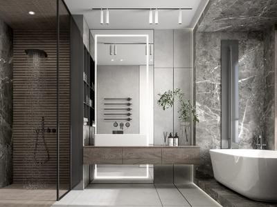 现代卫生间 壁挂马桶 浴缸 毛巾架 淋浴房 卫浴用品 壁龛