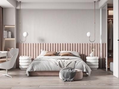 现代卧室 双人床 床头柜 衣柜 凳子 吊灯