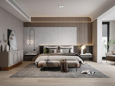 现代卧室 床具 主人房 单人沙发