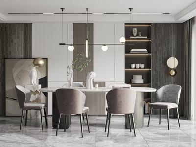 現代餐廳 餐桌椅 吊燈 餐具 落地燈 掛畫 飾品 擺件