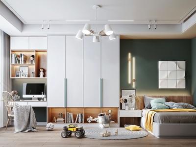 現代兒童房 臥室 書桌 書柜 吊燈 墻飾 裝飾品 玩具 電腦椅