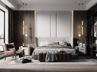 现代卧室 床具 吊灯 床尾凳 床头柜 单人椅 饰品摆件 花瓶 休闲椅
