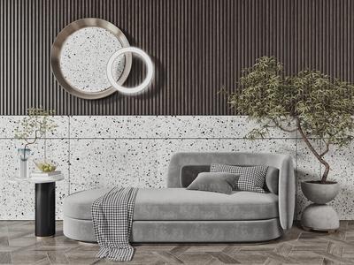 现代贵妃椅 布艺休闲椅 圆形边几 圆形墙饰 躺椅 盆栽