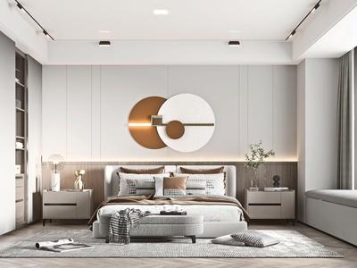 現代臥室 雙人床 床尾凳 抱枕 床頭柜 衣柜 臺燈 射燈 花瓶 裝飾品